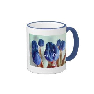 幸せ|母|日|青い|チューリップ|II リンガーマグカップ