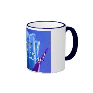 幸せ|母|日|青い|上がりました|I リンガーマグカップ