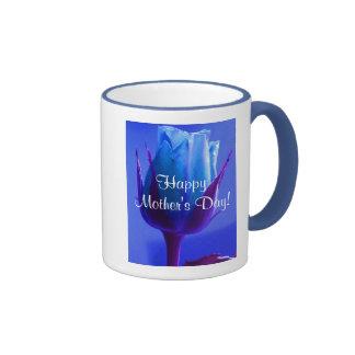 幸せ|母|日|青い|上がりました|III リンガーマグカップ
