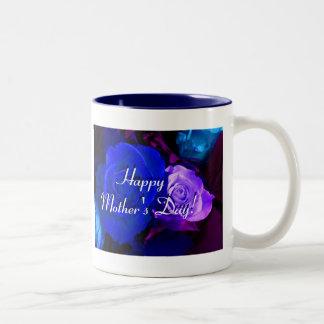 幸せ|母|日|青い|紫色|バラ ツートーンマグカップ