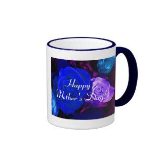 幸せ|母|日|青い|紫色|上がりました|III リンガーマグカップ