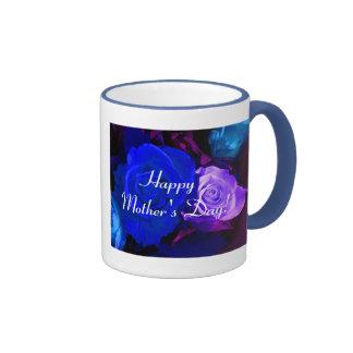 幸せ|母|日|青い|紫色|上がりました|V リンガーマグカップ