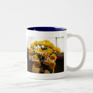 幸せ|母|日|黄色|バラ ツートーンマグカップ