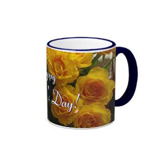 幸せ|母|日|黄色|バラ|II リンガーマグカップ