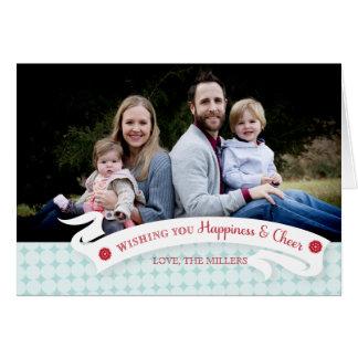 幸福および応援の休日の写真の挨拶状 カード