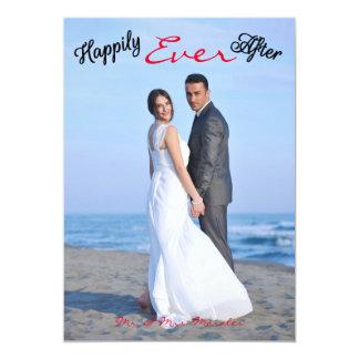 幸福にその後ずっと写真-結婚式の発表 12.7 X 17.8 インビテーションカード