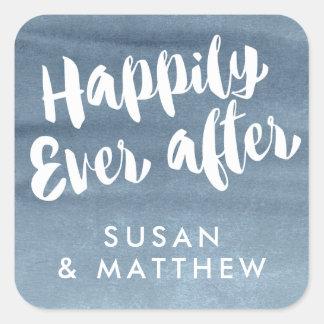 幸福にその後ずっと、メッセージカードの青の水彩画 スクエアシール