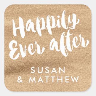 幸福にその後ずっと、メッセージカードモカ水彩画 スクエアシール