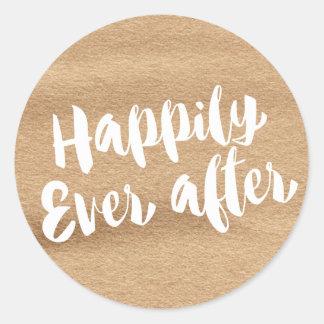 幸福にその後ずっと、モカ水彩画の封筒 ラウンドシール