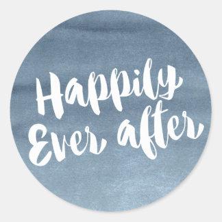 幸福にその後ずっと、青い水彩画の封筒 ラウンドシール