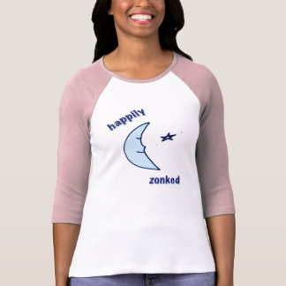 幸福に女性Zonked 3/4の袖のティー Tシャツ