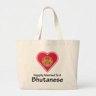 幸福に結婚したなBhutanese ラージトートバッグ