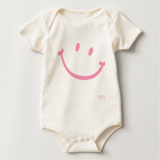 幸福のスマイリー(ピンク) ベビーボディスーツ
