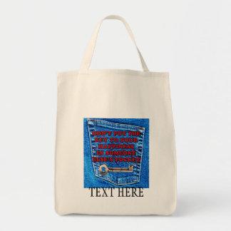 幸福のポケット引用文のブルー・ジーンズのデニムへの鍵 トートバッグ