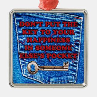 幸福のポケット引用文のブルー・ジーンズのデニムへの鍵 メタルオーナメント