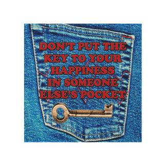 幸福の引用文のブルー・ジーンズのデニムのポケットへの鍵 ウッドウォールアート