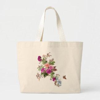 幸福の花及び蝶l庭 ラージトートバッグ