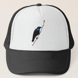 幸福のStarlingの光沢のある青い鳥 キャップ