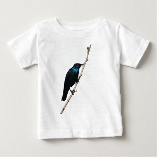 幸福のStarlingの光沢のある青い鳥 ベビーTシャツ