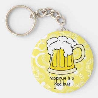 幸福はよいビールです ベーシック丸型缶キーホルダー