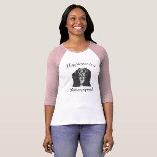 幸福は女性2のためのブリッタニースパニエル犬のワイシャツです Tシャツ