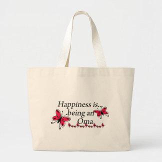 幸福はOmaの蝶です ラージトートバッグ