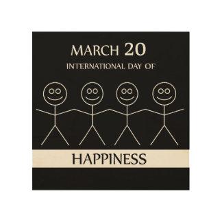 幸福を示すために手を握る棒の姿 ウッドウォールアート