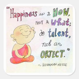 「幸福」の-仏Doodles™のステッカー スクエアシール