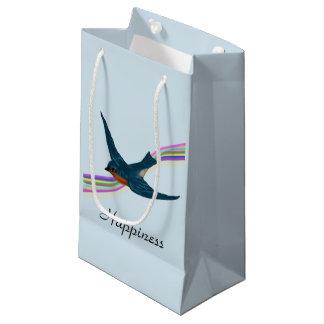 幸福、ブルーバードおよび虹のための願い スモールペーパーバッグ