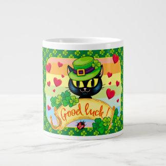 幸運なアイルランド猫! ジャンボコーヒーマグカップ