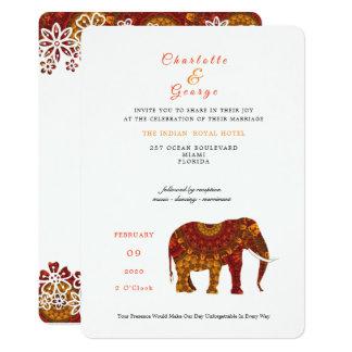 幸運なインドゾウのエレガントなレースの結婚式の招待 カード