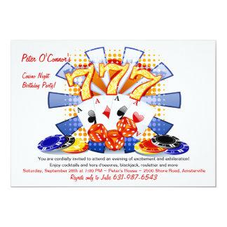 幸運なカジノ夜誕生日の招待状 カード