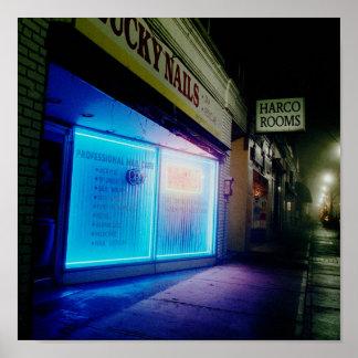 幸運なネイル-夜のカッコいいの青 ポスター