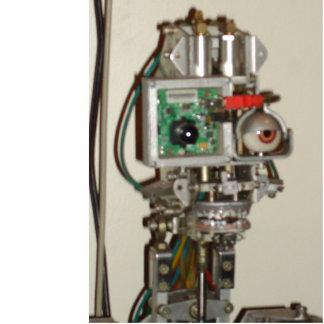 幸運なロボット頭部 写真彫刻(台付き)