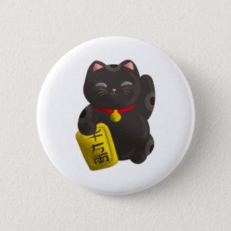 幸運な猫の黒 5.7CM 丸型バッジ