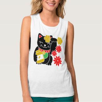 幸運な猫のManeki Nekoの上昇のトレーニングのワイシャツ タンクトップ