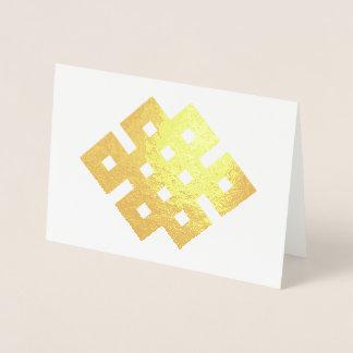 幸運な結び目の無限の結び目の仏教徒の記号 箔カード