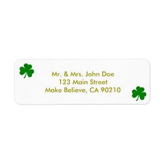 幸運な緑のセントパトリックの日のアイルランド人のシャムロック 返信用宛名ラベル
