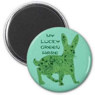 幸運な緑のノウサギ|の磁石 マグネット