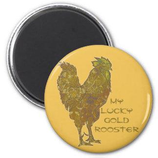 幸運な金ゴールドのオンドリ|の磁石 マグネット