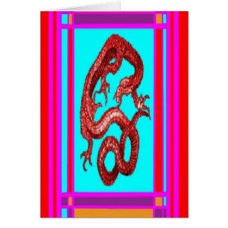 幸運な金ゴールドのドラゴン、Feng隋ピンクのnby Sharles カード