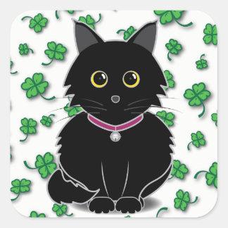 幸運な黒猫のZeldaのクローバーのステッカー 正方形シールステッカー
