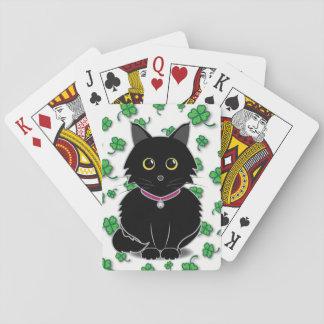 幸運な黒猫のZeldaのクローバーのトランプ トランプ