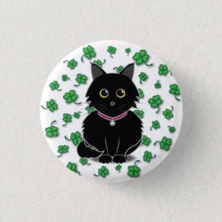 幸運な黒猫のZeldaのクローバーボタン 3.2cm 丸型バッジ