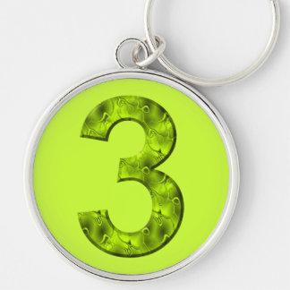 幸運な3つの数オーガニックなデザインの陽気な緑 キーホルダー