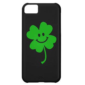 幸運な4つの葉のクローバーのスマイリーフェイス iPhone5Cケース