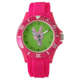 幸運な4つの葉のクローバーを持つ幸運なブタ 腕時計