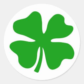 幸運な4つの葉のクローバー| St patty's day ラウンドシール