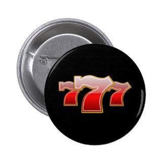 幸運な7つ-黒い背景の赤いSevens 5.7cm 丸型バッジ