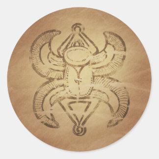 幸運のオオタマオシコガネのアッシリアの魔法のチャーム ラウンドシール